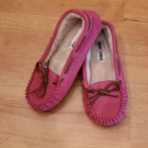 Minnetonka Pink Suede Moccasins